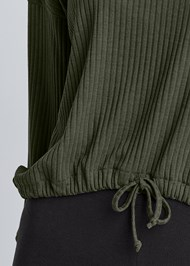 Detail front view Rib Knit Drawstring Lounge Top