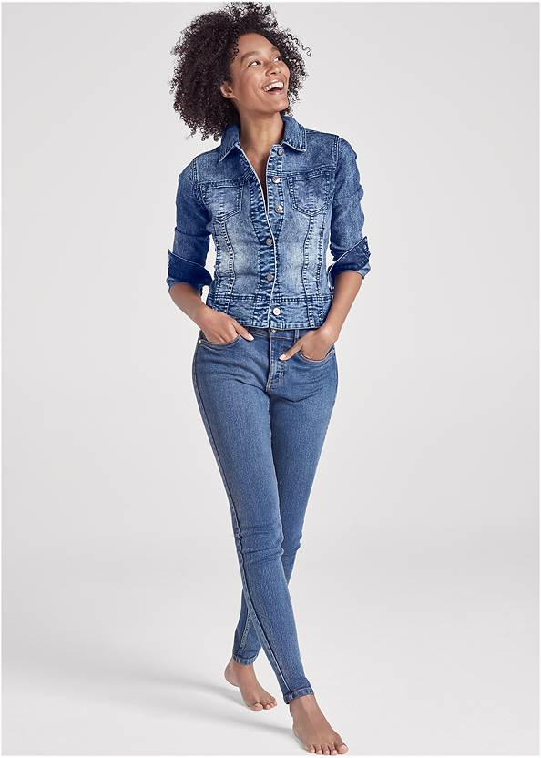 Jean Jacket,Basic Cami Two Pack,Mid Rise Color Skinny Jeans,Sleeveless Ruched Bodycon Midi Dress,Long Circle Earrings,Ring Handle Straw Tote