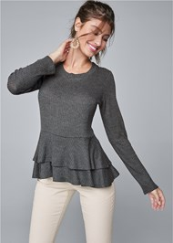 Cropped front view Casual Waffle Top