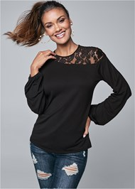 Cropped front view Lace Sleeve Top