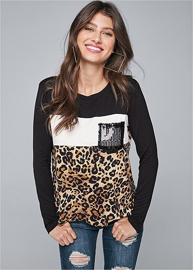Leopard Print Sequin Top