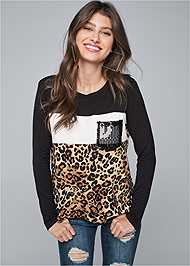 Cropped front view Leopard Print Sequin Top