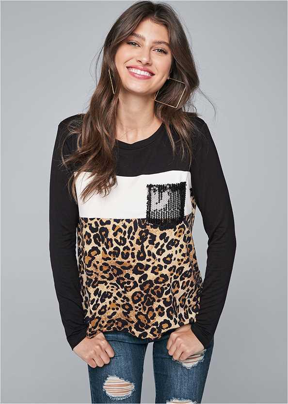 Leopard Print Sequin Top,Ripped Skinny Jeans,Peep Toe Booties,Square Hoop Earrings