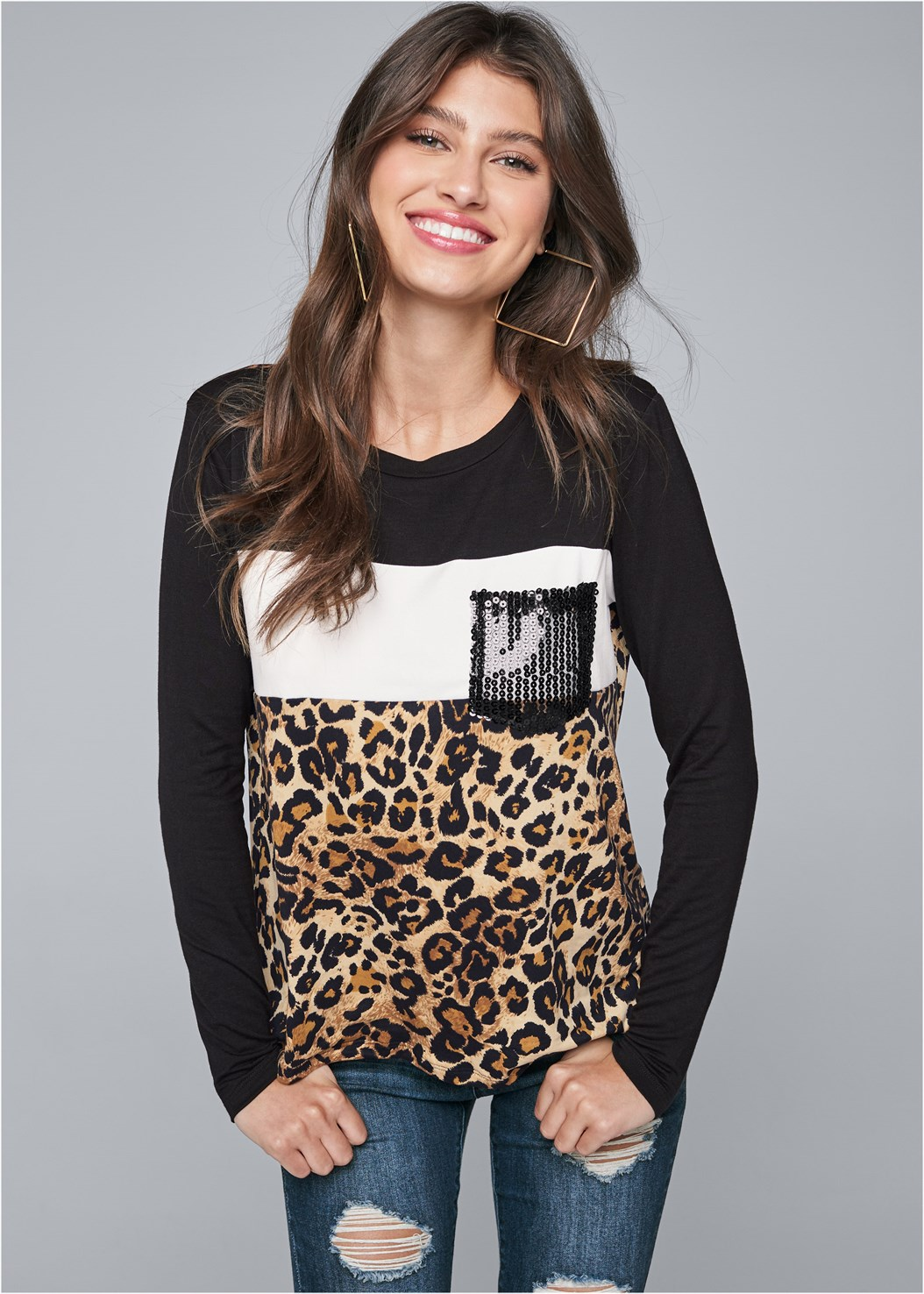 Leopard Print Sequin Top,Ripped Bum Lifter Jeans,Peep Toe Booties,Square Hoop Earrings