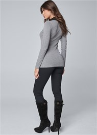 Full back view Ribbed Collar Top