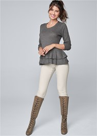 Full front view Casual Waffle Top