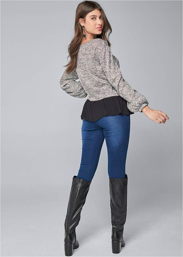 Full back view Casual Twofer Top