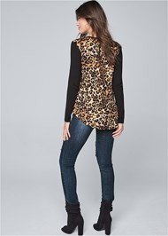 Full back view Leopard Print Sequin Top