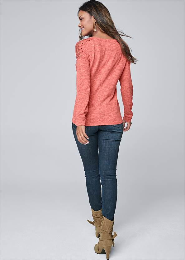 Full back view Crochet Sleeve Button Up Top
