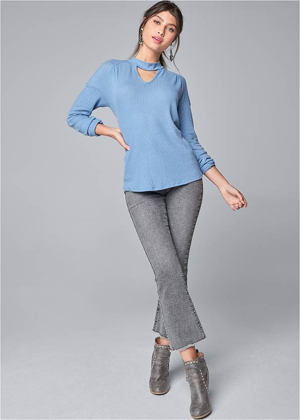 Full Front View Mock Neck Waffle Top