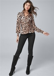 Full front view Leopard Knot Twist Top