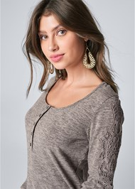 Alternate View Lace Sleeve Henley Top