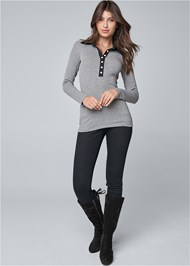 Full front view Ribbed Collar Top