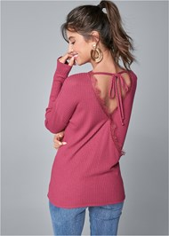 Cropped back view Surplice Back Waffle Top