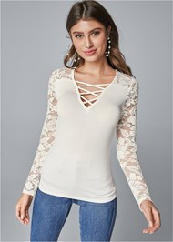 Cropped front view Lace Up Top