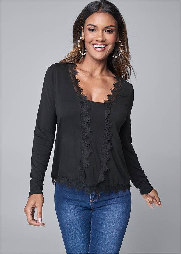Lace Detail Top,Bum Lifter Jeans,Knotted Slouchy Boots