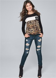 Full front view Leopard Print Sequin Top