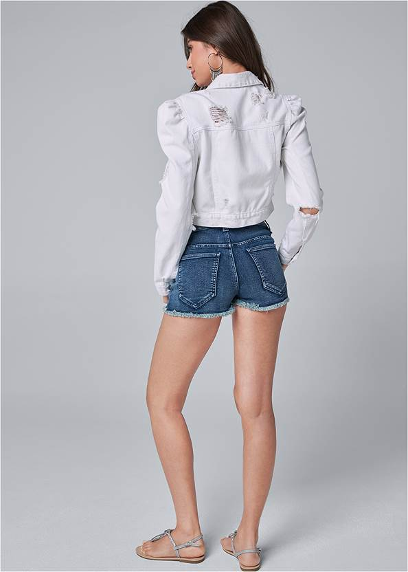 Back View Cropped Puff Sleeve Denim Jacket