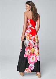 Back View Strapless Print Maxi Dress