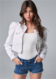 Cropped front view Cropped Puff Sleeve Denim Jacket
