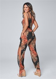 Back View Palm Printed Jumpsuit