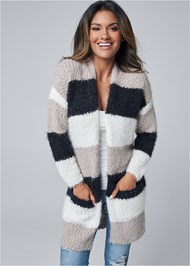 Cropped Front View Cozy Striped Cardigan