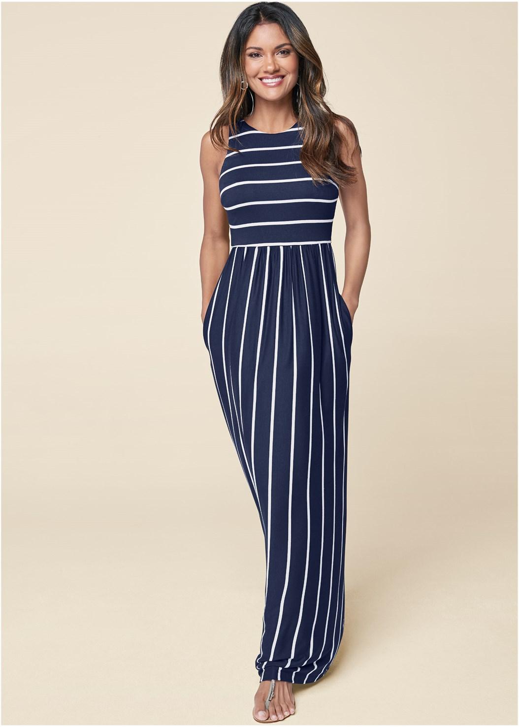 Stripe Maxi Dress,Hoop Detail Earrings