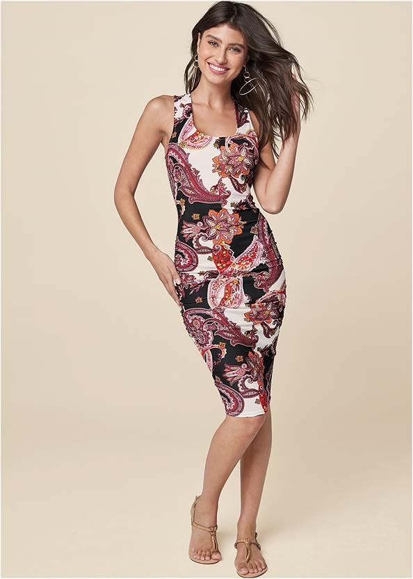 Ruched Print Tank Dress,Sleeveless Ruched Bodycon Midi Dress,Rhinestone Thong Sandals,Tassel Hoop Earrings