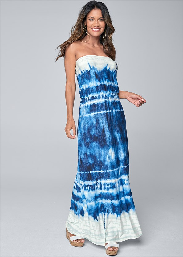 Strapless Print Maxi Dress,Strapless Bra With Geo Lace,Double Strap Cork Wedge