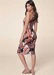 Back View Ruched Print Tank Dress