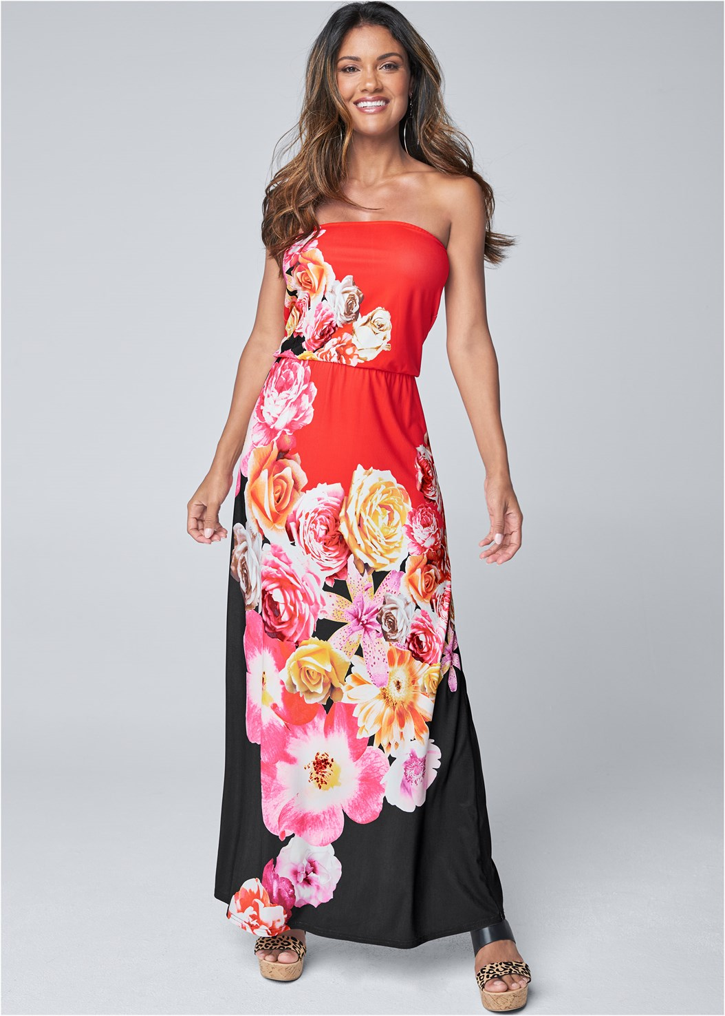 Strapless Print Maxi Dress,Double Strap Cork Wedge