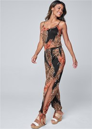 Front View Palm Printed Jumpsuit