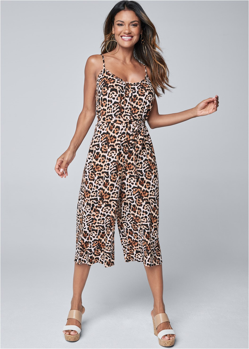 Casual Jumpsuit,Double Strap Cork Wedge