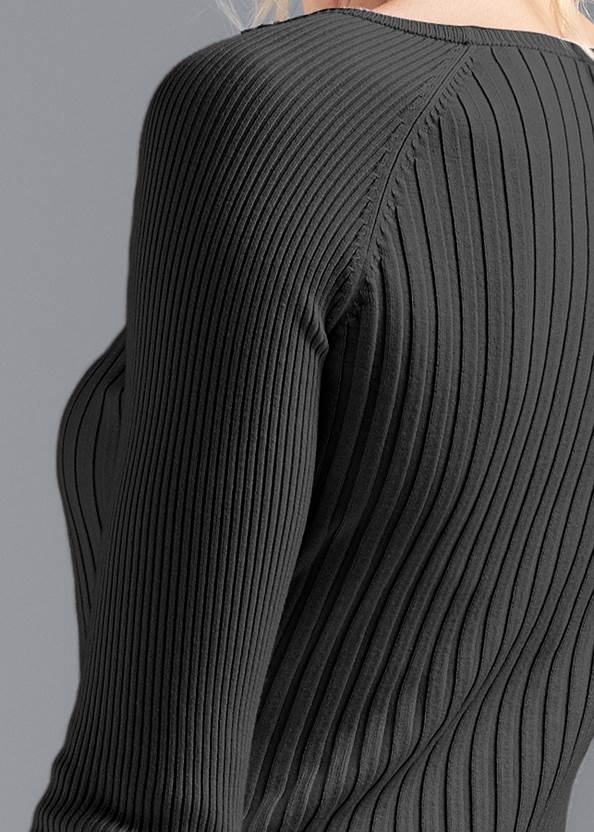 Alternate View Ribbed Button Detail Sweater