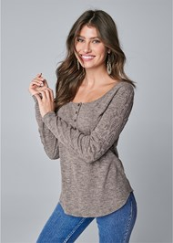 Cropped Front View Lace Sleeve Henley Top