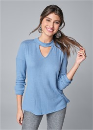 Cropped front view Mock Neck Waffle Top