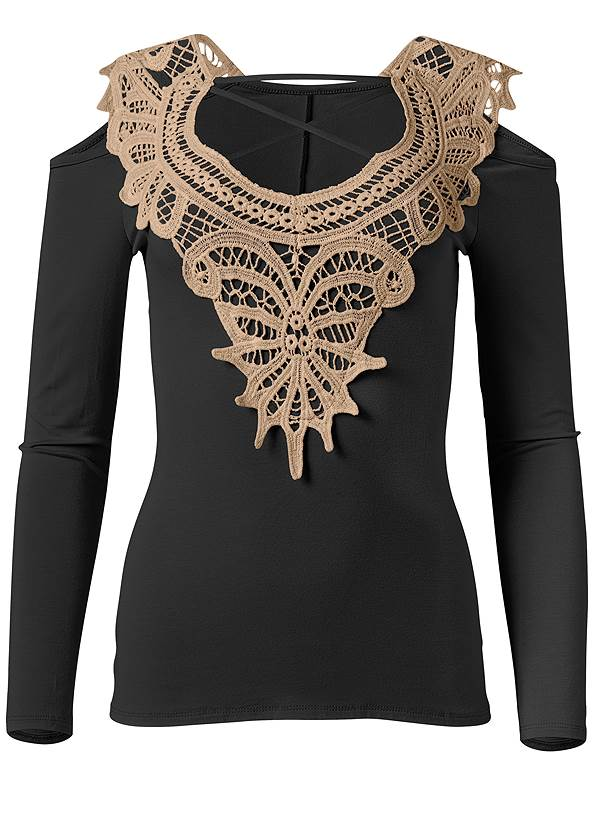 Full back view Lace Cold Shoulder Top