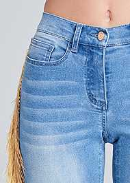 Detail front view Cropped Fringe Trim Jeans