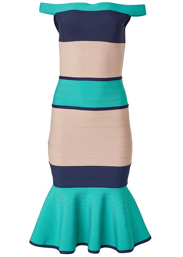 Ghost with background  view Color Block Bandage Dress