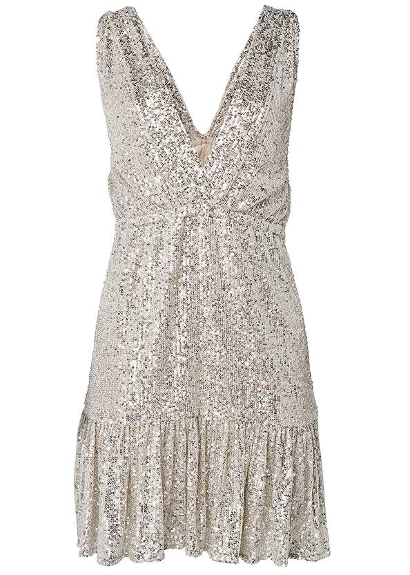 Alternate View Sequin Halter Mini Dress