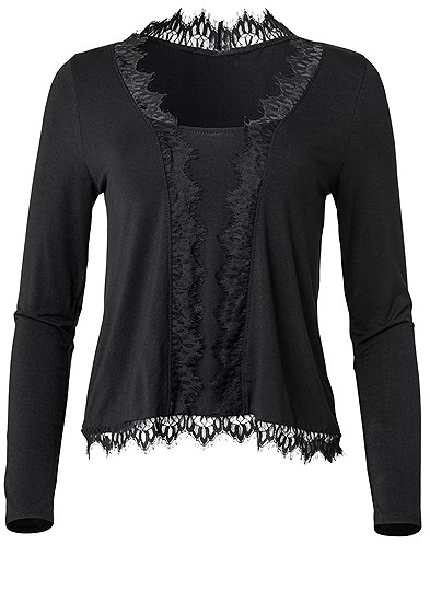 Plus Size Lace Detail Top