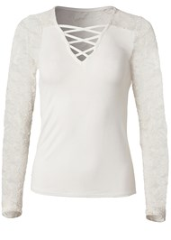 Ghost with background  view Lace Up Top