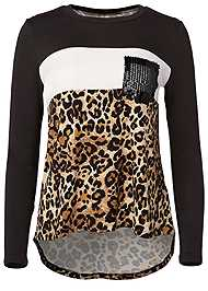 Ghost with background  view Leopard Print Sequin Top