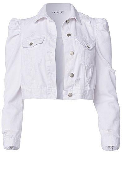 Plus Size Cropped Puff Sleeve Denim Jacket