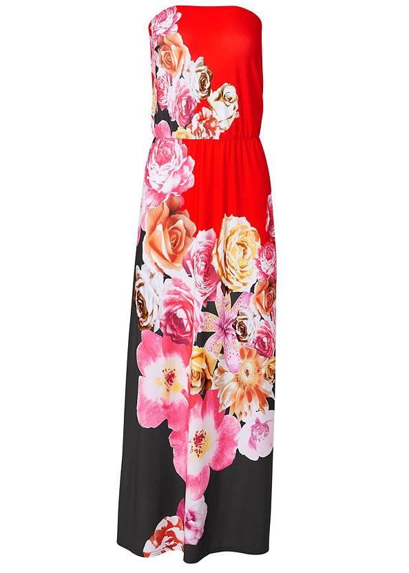 Alternate View Strapless Print Maxi Dress