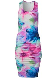Alternate View Ruched Print Tank Dress
