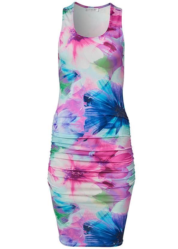 Alternate View Ruched Print Tank Dress