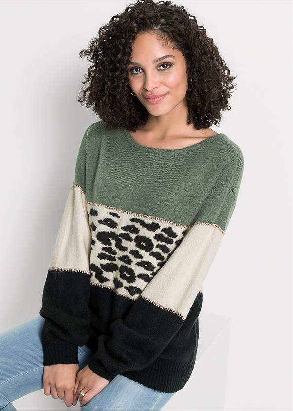 Printed Color Block Sweater,Mid Rise Color Skinny Jeans,Bum Lifter Jeans,Lace Up Tall Boots,Pearl Hoop Earrings,Leopard Fringe Crossbody