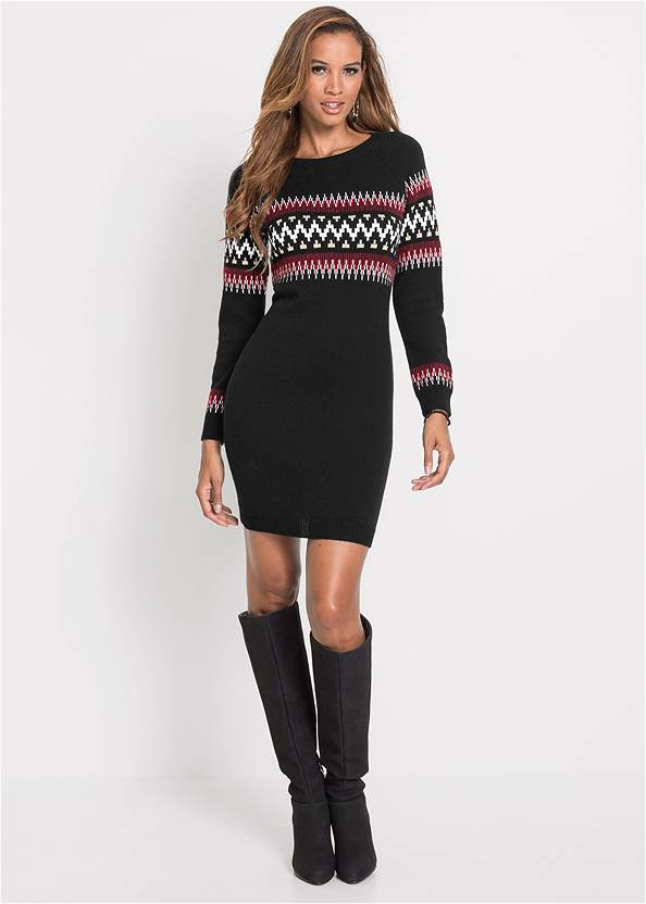 Full front view Printed Sweater Dress