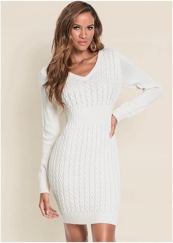 Cable Knit Sweater Dress,Pearl™ By Venus Cami Bra,Whipstitch Peep Toe Booties,Beaded Drop Earrings,Twist Handle Satchel Bag